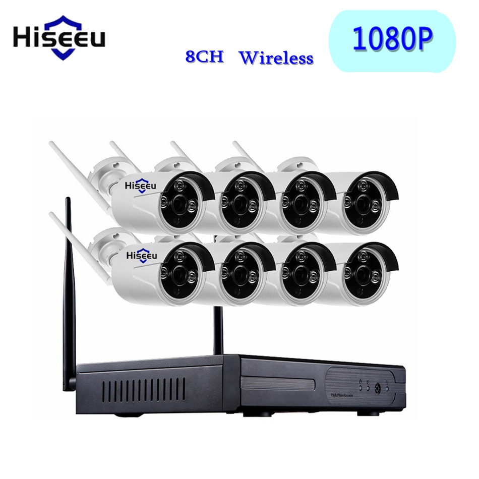 8CH CCTV system Wireless NVR kits 1080P  WiFi bullet IP Camera IR-CUT Home Security System video Surveillance Kit 8ch nvr kit 720p 3 6mm waterproof outdoor onvif ir ip camera 1 0mp and 8ch 1080p 720p nvr for cctv security system free shipping