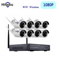 8CH CCTV System Wireless NVR Kits 1080P WiFi Bullet IP Camera IR CUT Home Security System