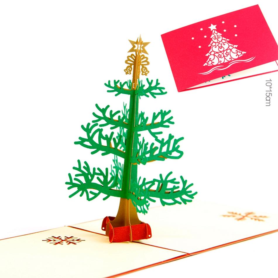 unids d popup de copo de nieve del rbol feliz navidad del corte del laser de tarjetas de felicitacin hechas a mano tarjet
