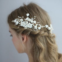 SLBRIDAL Handmade Wired Alloy Crystal Rhinestone Pearls Flower Wedding Hair Comb Pin Set Bridal accessories Women Jewelry