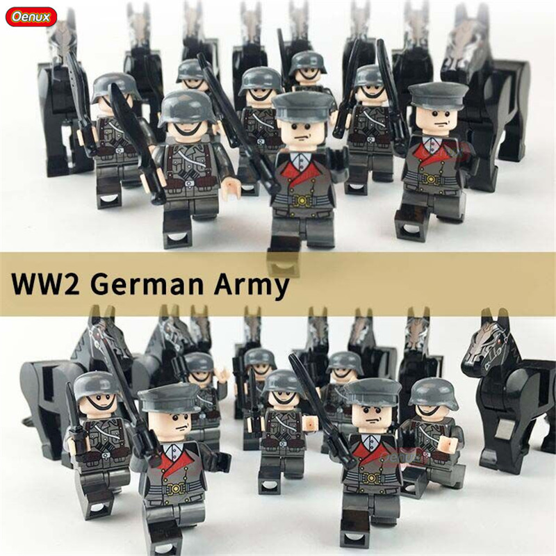 Oenux 8PCS World War 2 German Army Soldiers Figures With War-Horse Military Building Block Set Classic Military Scenes Model Toy цена