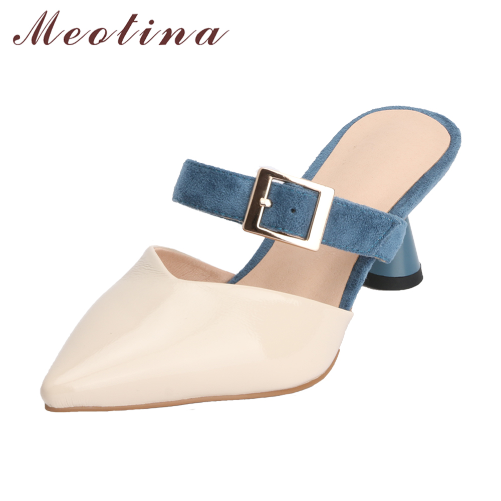 Meotina Women Mules Pointed Toe High Heels Party Shoes Sip On Ladies Slippers Buckle Strange Heels Spring Shoes 2018 Size 33-43 купить