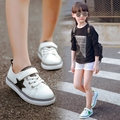 Koovan children shoes 2017 детская Мальчики и Девочки Случайные Shoes Звезды Белый Shoes Студент Легкий Звезда Skatebard Кроссовки