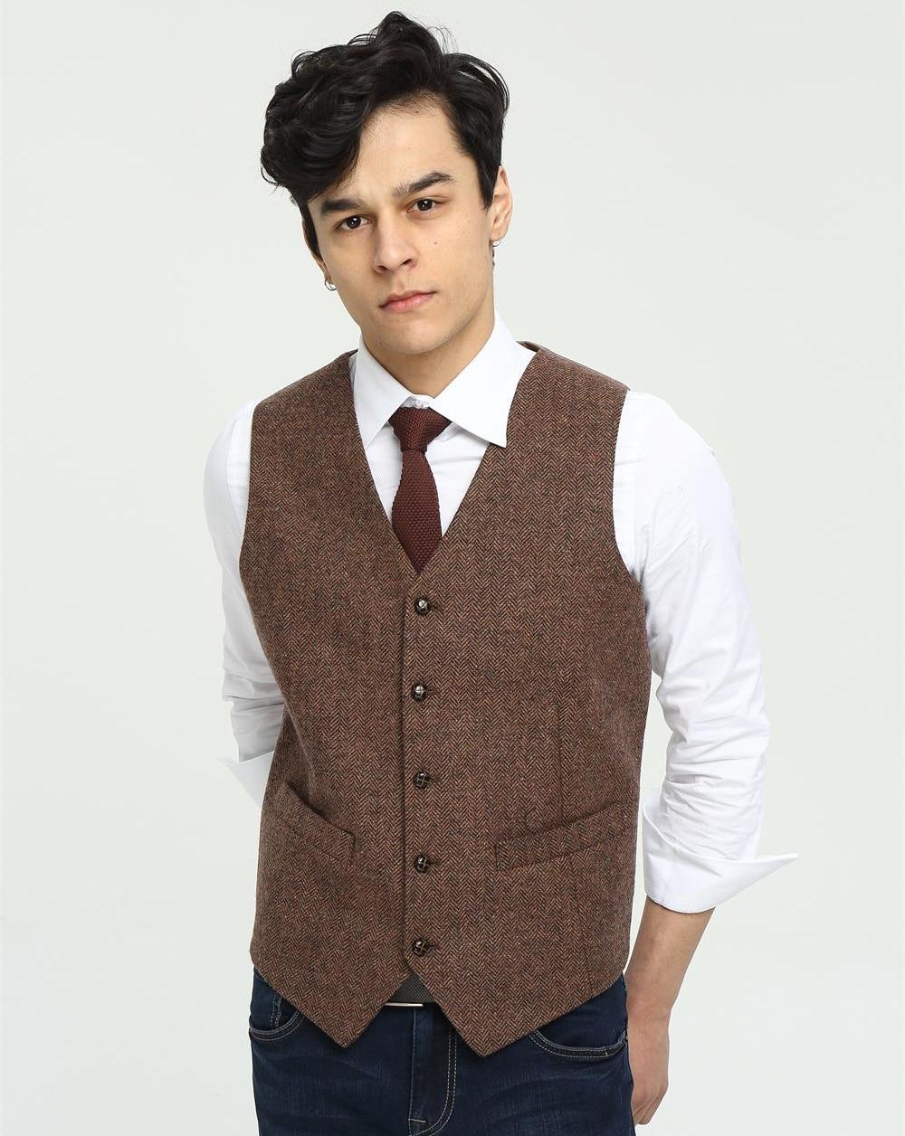 2018 Airtailors Brand Mens Vest Wedding Brown Wool Herringbone Tweed