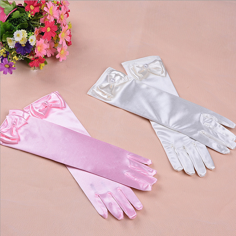 Gloves For Girls Long Princess Gloves Girls Gloves Birthday Gift Blue Wedding Dress Glove With Bow Costume Accessories Satin