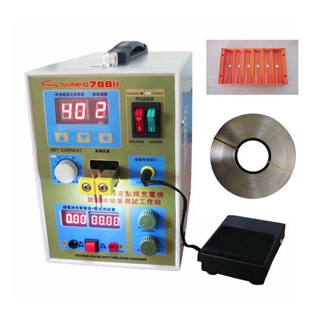 SUNKKO 788H (788+) LED light Double pulse precision 18650 Battery Spot Welder  + 1KG/Roll 0.15 x 8mm Nickel + 18650 Clamp