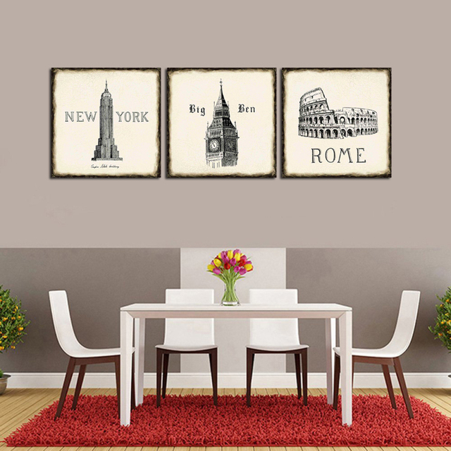 3PCS Canvas Oil Painting York Rome England Retro Architecture Vintage Print Poster Wall Picture Cafe Living