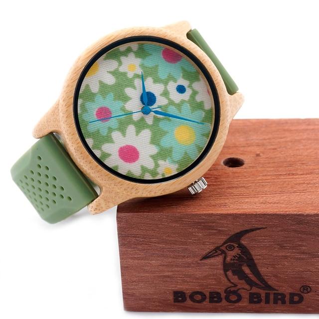 Zegarek damski drewniany BOBOBIRD Green Flower