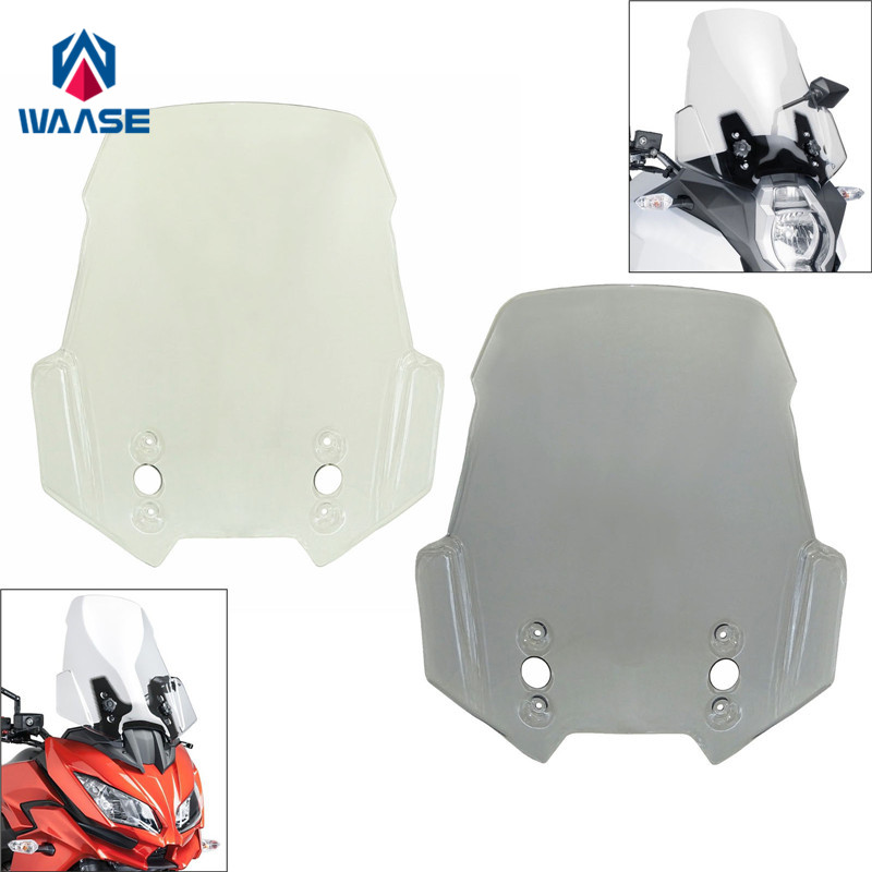 waase Motorcycle Windscreen Windshield Shield Screen For Kawasaki Versys 650 KLE650 2015 2016 2017 2018 2019 high quality logo versys cnc brake clutch levers for kawasaki versys 650 2015 2016 2017 motorcycle brakes