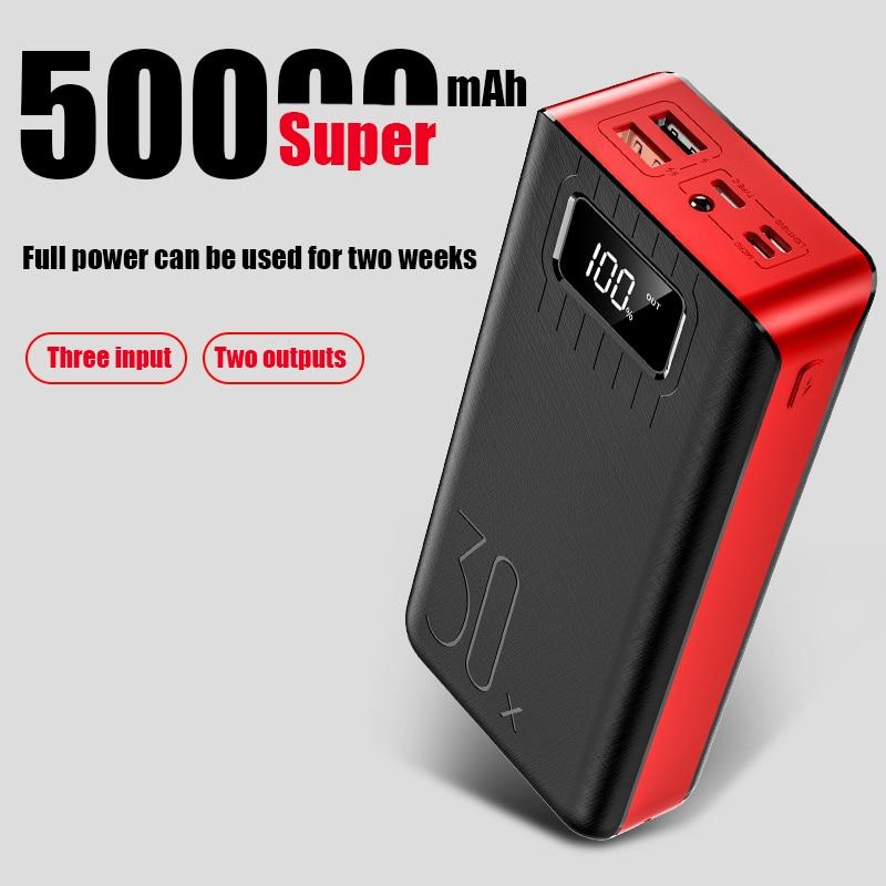 Banco do poder 50000mAh 2 PoverBank Rápida USB LEVOU Carregador de Telefone Bateria Externa carregador Banco Do Poder de carregamento portátil para xiaomi