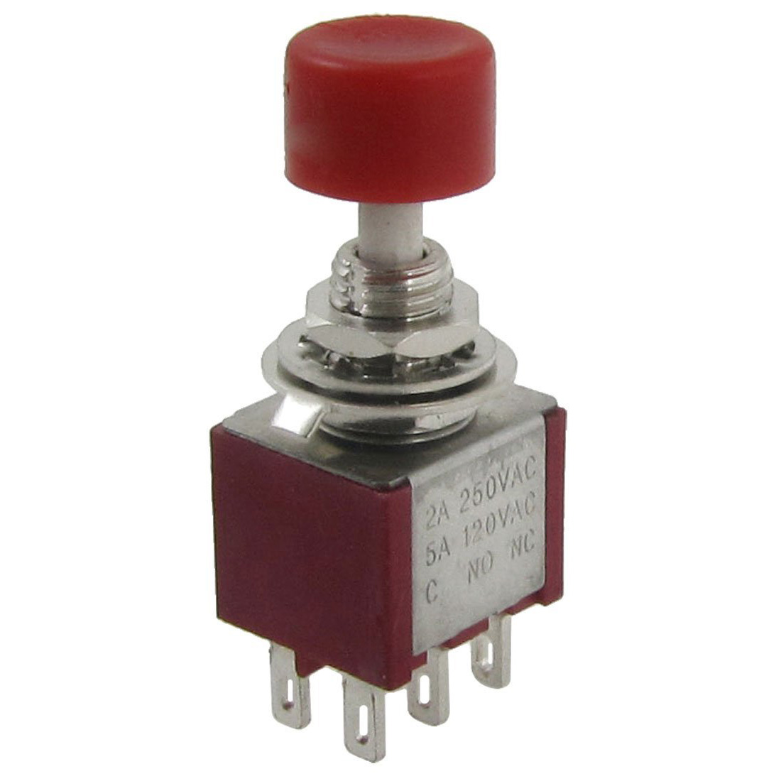 (Top sell)2 Pcs AC 250V 2A 120V 5A DPDT 2NO 2NC Momentary Push Button Switch 16mm switch automatic reset square indicator 5a 220vac dpdt 2a 2b with led k16 282 dip8 top red colour new and original