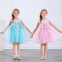 b6d0b728e6 Cartoon Girl Elsa Dresses Baby Kid Clothes Princess Anna Elsa Dress Snow  Queen Cosplay Costume Party