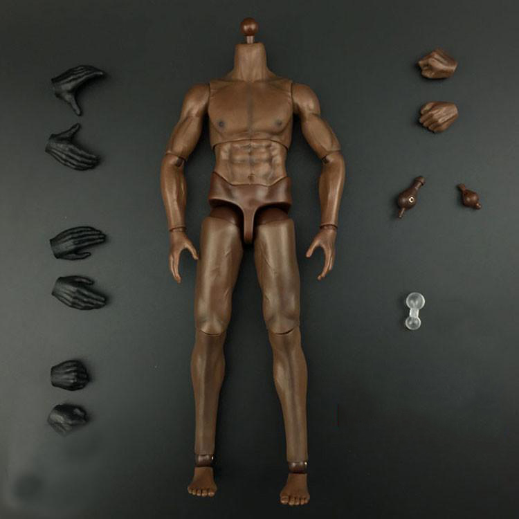 все цены на  1/6 Male Muscular Body Figure Black Skin Color Strong Figure For DIY Action Figures  онлайн