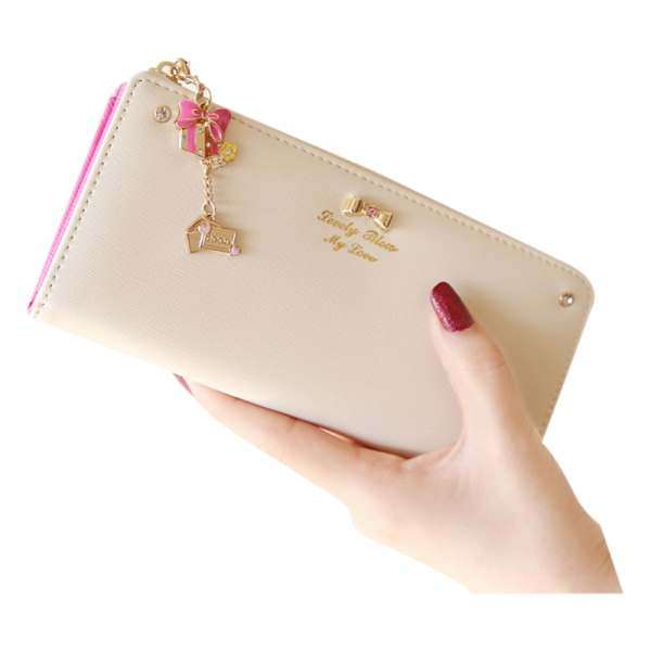 bowknot pendant PU Leather Long Design Women Wallet Coin Purse Ladies Handbag Day Clutch Bag bodi k333 women s pu leather long wallet coffee