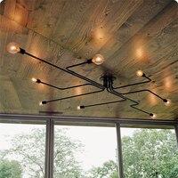 HGhomeart Wrought iron Chandelier on the ceiling 4/6/8 heads chandeliers ceiling Multiple rod ceiling retro nostalgia