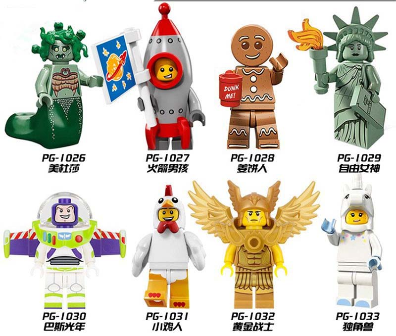240 Stks Pg1026-1033 Speelgoed Diy Medusa Rockey Jongen Gingerbread Man Buzz Lightyear Eenhoorn Golden Lightan Bouwstenen