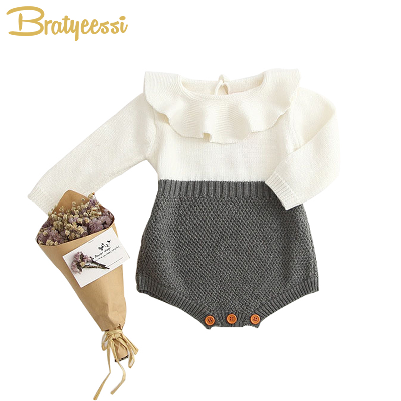 Autumn Spring Baby Girl Knit Romper Peter Pan Collar Baby Rompers Long Sleeves Infant Jumpsuit Baby Girl Clothes newborn baby rompers baby clothing 100% cotton infant jumpsuit ropa bebe long sleeve girl boys rompers costumes baby romper