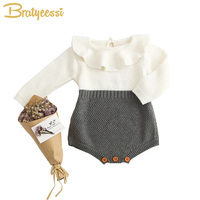 Autumn Spring Baby Clothes Long Sleeves Knitted Baby Girl Romper Peter Pan Collar Infant Jumpsuit