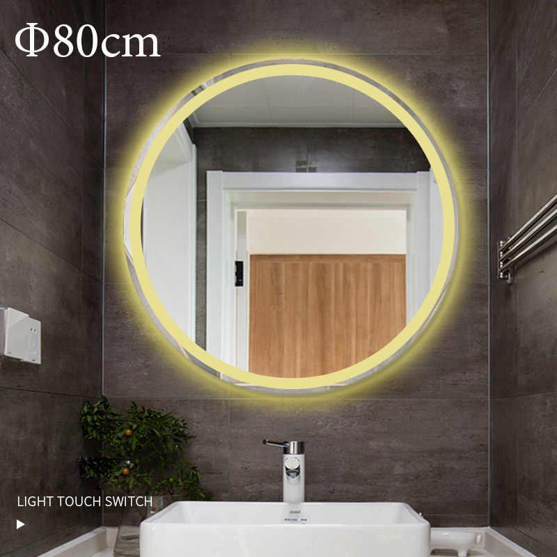 Mur rond Monted LED illuminé miroir de maquillage éclairé salle de bain  miroir intelligent 50 60 70 80cm interrupteur tactile pour miroirs Bluetooth