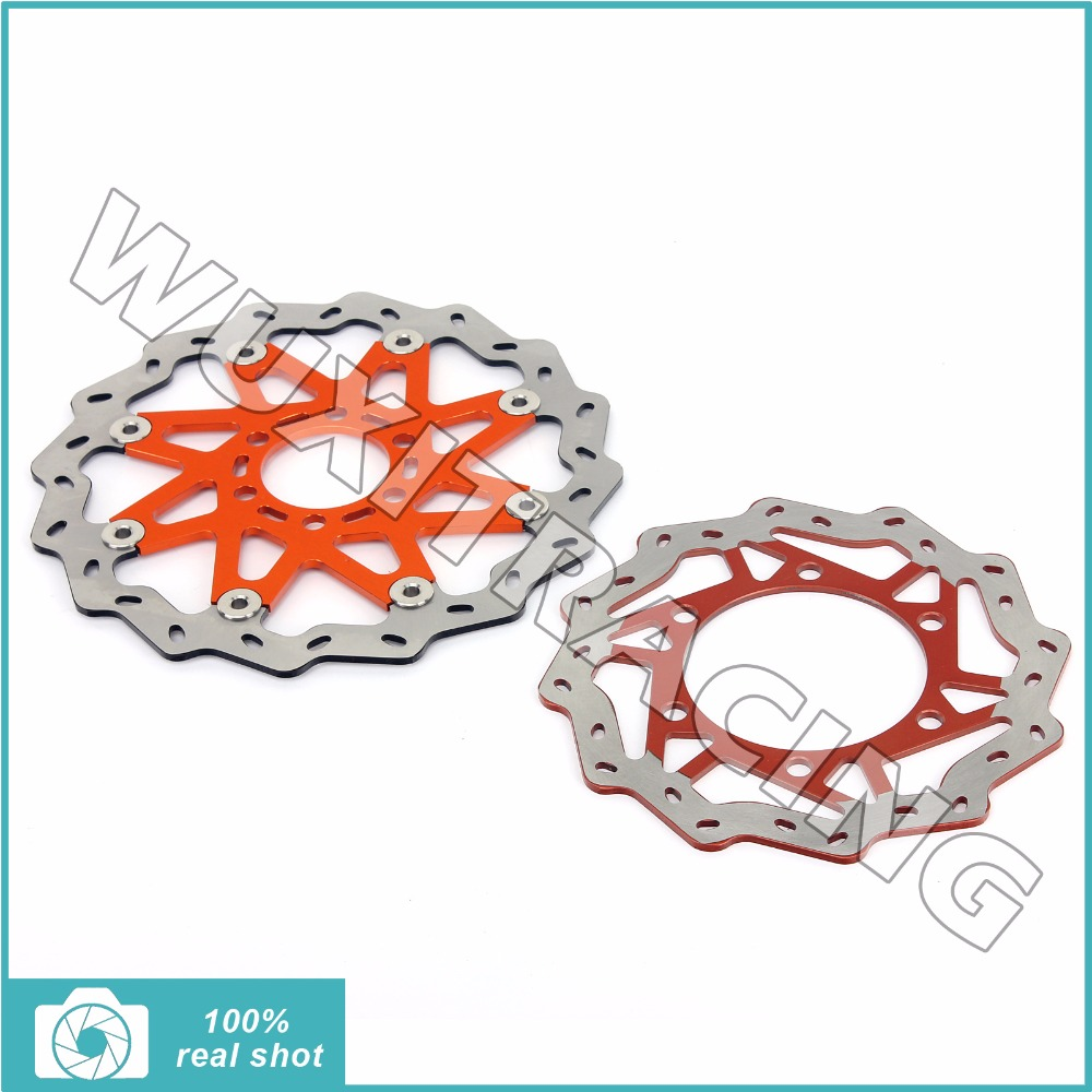 Motorcycle New 1 Set Wave Front Rear Brake Discs Rotors for KTM DUKE 125 2011 2012 2013 DUKE 200 2012-2013 free shipping aluminium wave motorcycle accessories front brake disc rotor disk for ktm 125 200 390 duke 2013 2014