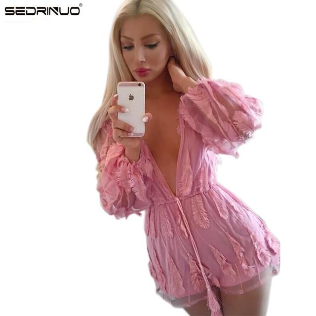 2016 sexy mamelucos womens jumpsuit Profunda V cuello rosa Plumas Body fajas de manga Farol Completo mujeres mameluco monos cortos