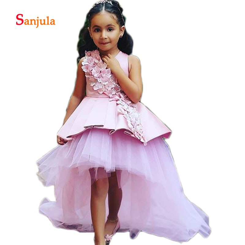 High Low Pink   Flower     Girls     Dresses   Handmade   Flowers   Gorgeous Little   Girls   First Communion   Dresses     Girls   Pageant Party   Dress   D72