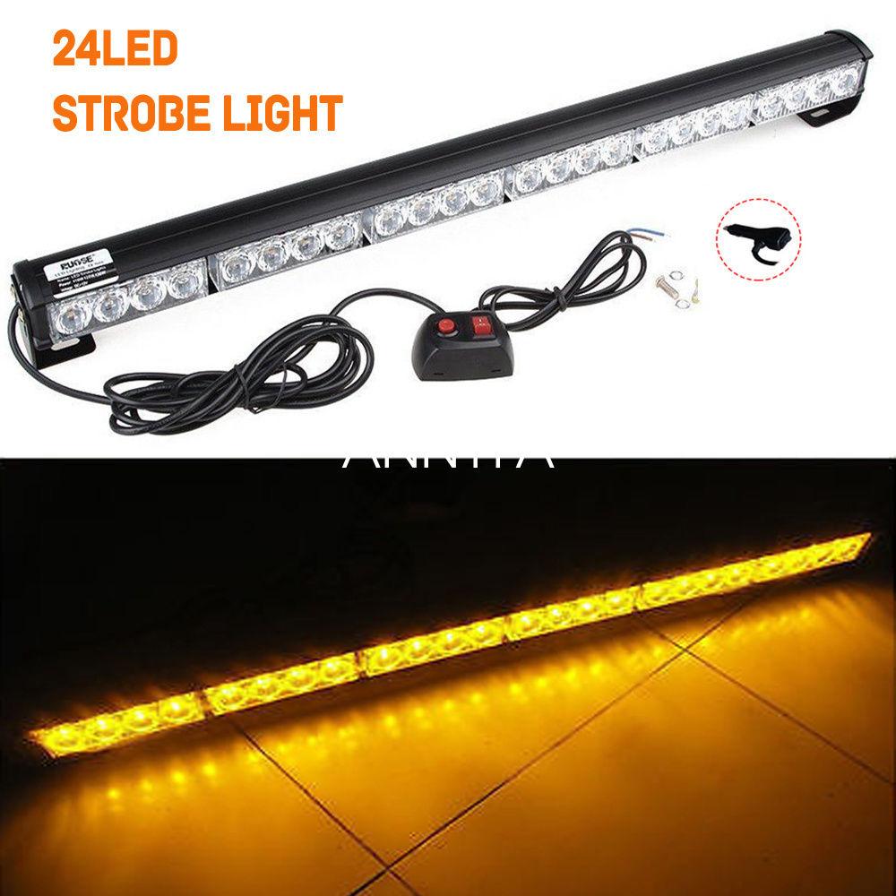 CYAN SOIL BAY 27 Inch 24 LED Blue Emergency Traffic Advisor Flash Strobe Light Bar Warning Lamp 12V