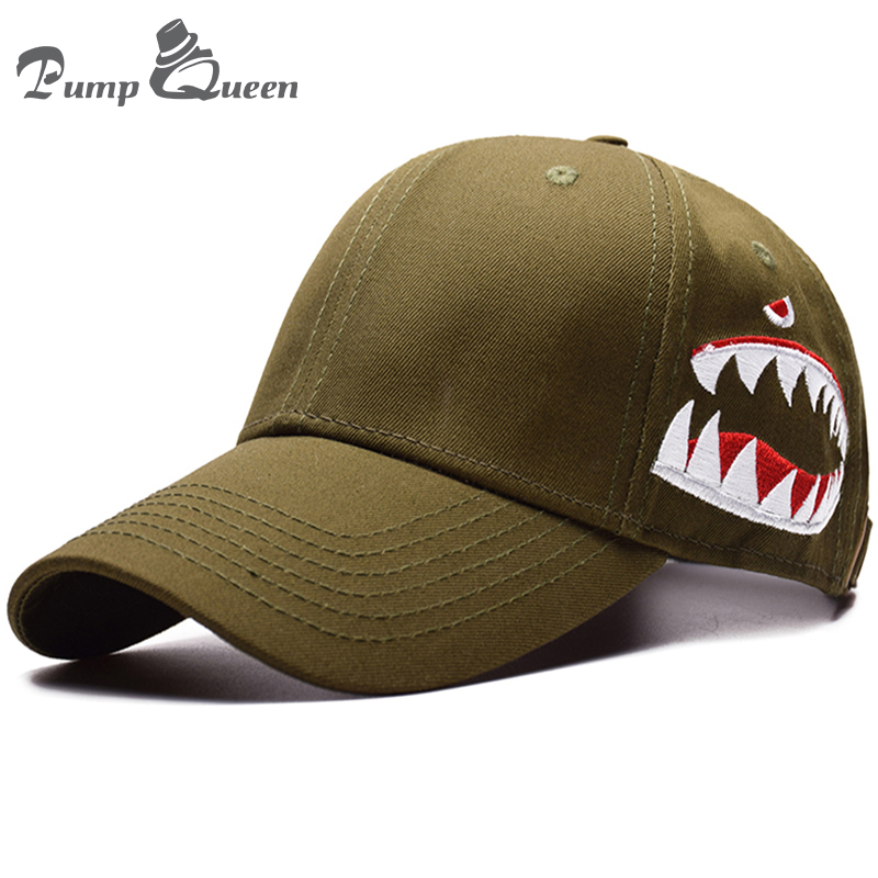 Pump Queen 100% Cotton Trucker Baseball Cap Shark Embroidery Baseball Hats  Men Women Unisex Hat Leisure Hip Hop Outdoor Caps-in Baseball Caps from  Apparel ... 9f876e361db