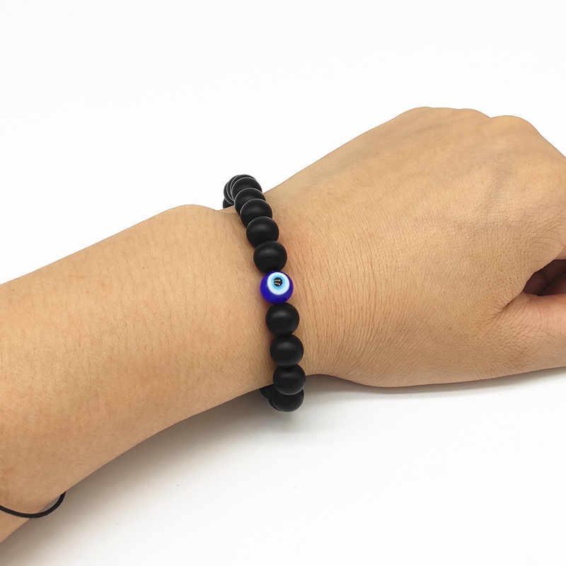 Мода 8 мм турецкий злой ожерелье с глазом Подвески с темным камнем обсидиан мужчин Braslet для мужчин Йога ручной ювелирные изделия аксессуары
