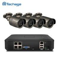 Techage 4CH 1080P HD POE NVR Kit 720P 1 0MP IP Camera IR Indoor Outdoor Waterproof