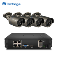 Techage 4CH 1080P HD POE NVR Kit 720P 1 0MP IP Camera IR Indoor Outdoor Waterproof