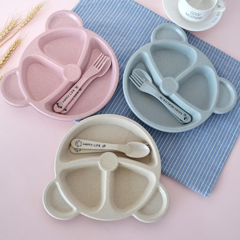 3pcs-set-baby-bowl-spoon-fork-feeding-food-tableware-cartoon-bear-kids-dishes-eating-dinnerware-anti-hot-training-dinner-plate