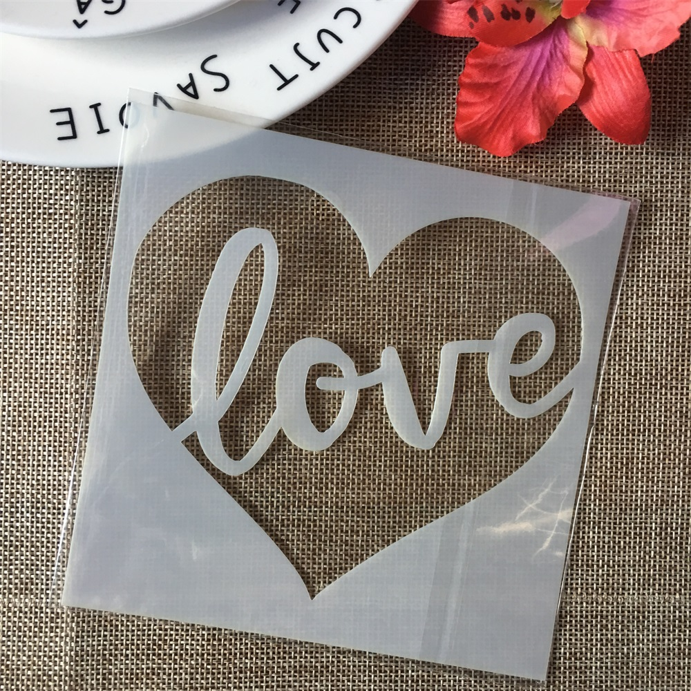 """5"""" Love Words Heart DIY Layering Stencils Wall Painting Scrapbook Coloring Embossing Album Decorative Paper Card Template"""