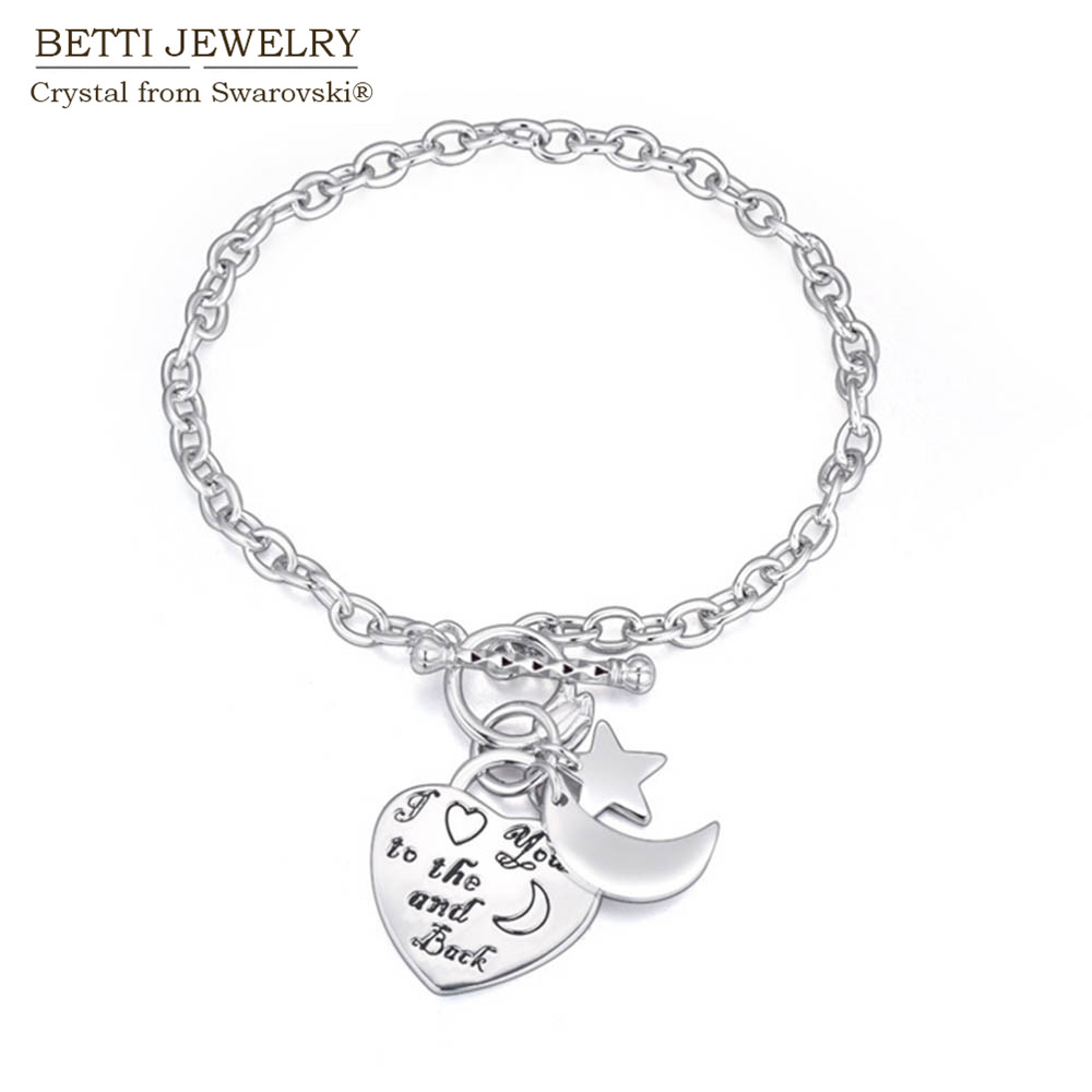 2016 new bijoux jewelry for girlfriend charming moon star and heart charm bracelet with Czech crystal for Christmas gift
