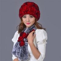 Winter Nature Rex Rabbit Fur Fox Fur Hat Scarf Russian Women's Fur Hat and Scarf 2020 All New Fashion Warm Peas Hat Scarf