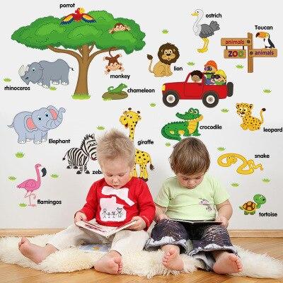 Дошкольного образования стены Стикеры 2018 обучения мультфильм Животные зоопарк Английский стены Бумага детская комната Съемный Декор