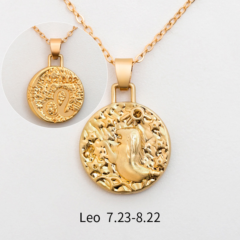 12 Constellation Jewelry Necklace Gold Virgo Libra Scorpio Sagittarius Capricorn Aquarius Zodiac Necklace Circle Pendant bijoux 25