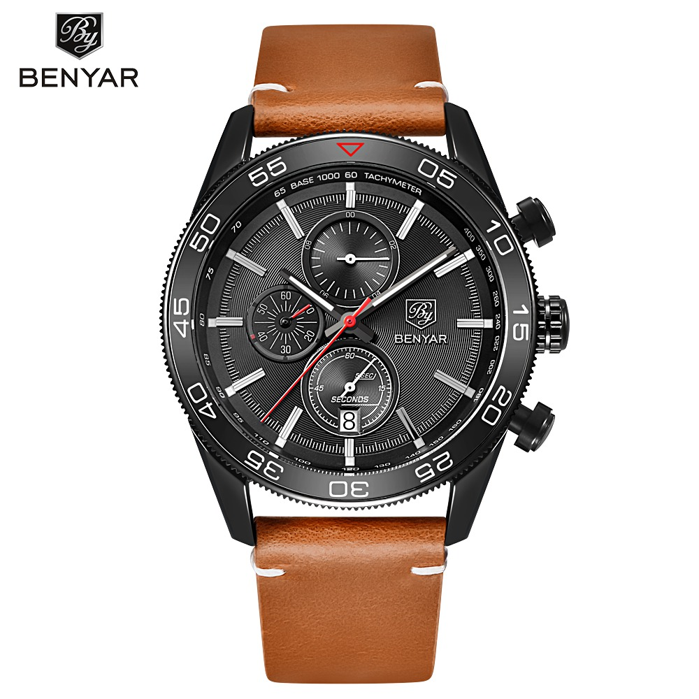 BENYAR Men Sport Watches Top Brand Luxury Chronograph Quartz Watches Men Wrist Watch Male Clock Hodinky reloj hombre saat kinyued top brand luxury watches men luminous sport men s watch steel male clock men quartz wristwatches reloj hombre 2017 saat