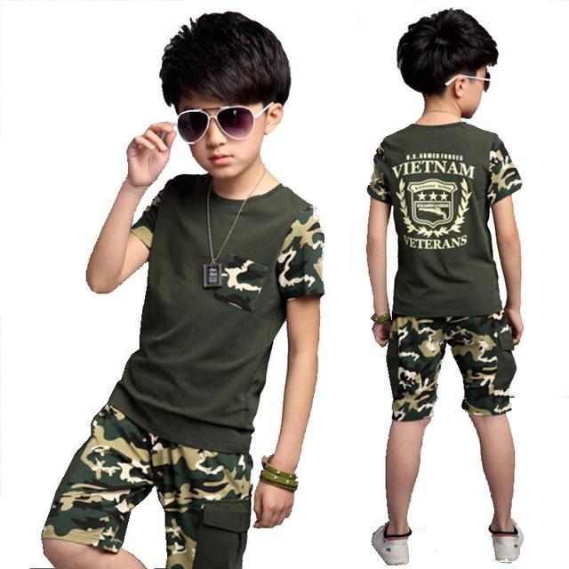 Muchachos determinados de la ropa outwear la ropa del bebé establece corta camiseta + pantalón 2 unids ropa set kids traje de 5-13años Envío gratis