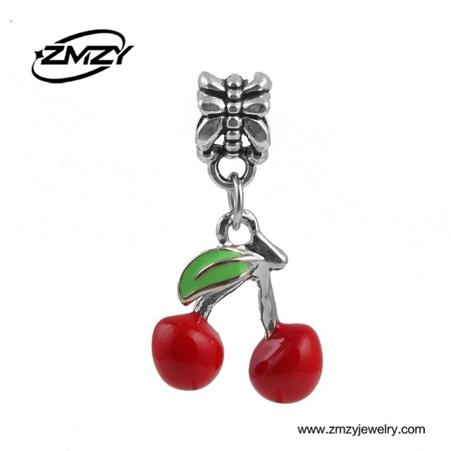 Cute style red cherry charm beads pendantfashion diy silver cute style red cherry charm beads pendantfashion diy silver plated jewelry fits pandora charm sciox Images