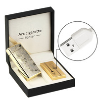 6 Types Portable Size USB Rechargeable Men Cigarette Lighter Box Super Thin USB Electric Arc Windproof Smoke Cigar Lighter