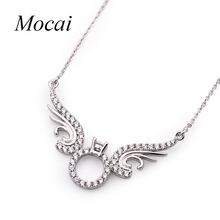 Mocai Antique Chain Link Pendant Necklace Angel Wings Jewelry for Women AAA Cubic Zirconia Tatto Statement Punk Necklaces ZK20