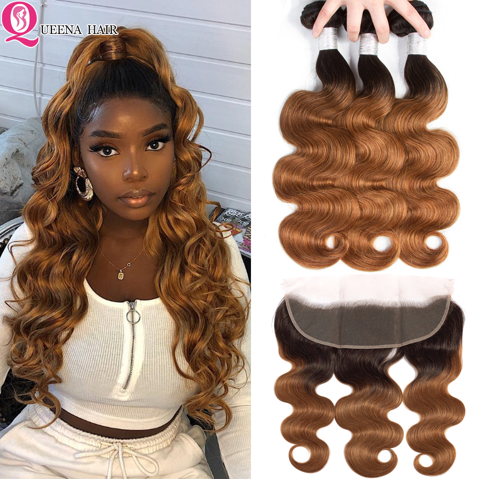 Colored Ombre Human Hair 1B 30 2 Tone Bundles With Frontal Closure Brazilian Body Wave Remy Hair Weave Bundles With Lace Frontal