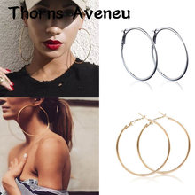 New Fashion Sliver Gold Rose Gold Color Big Hoop Earrings Hoops Bohemian Earrings Circle Hoop Earrings For Women Party Jewelry(China)