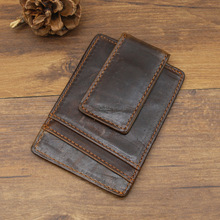 New retro card wallet simple, crazy horse, button, gold clip, Guangzhou small wholesale 7017