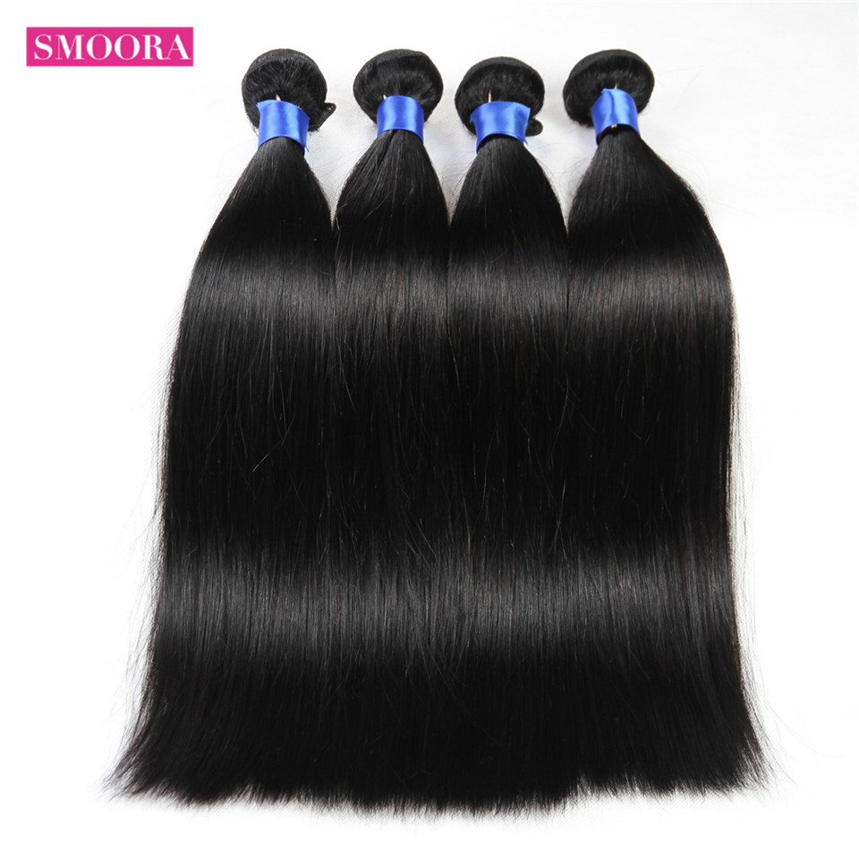 New Mink Brazilian Straight 4 Bundles Deal 100% Real Human Hair Extensions Straight Weaving No Shedding No Tangle Smoora Company