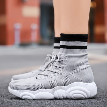 Lace Boot Socks | ADBOOV New Bear High Top Sneakers Women Knit Upper Breathable Ankle Sock Boots Spring Summer Shoes Gray Pink White Black