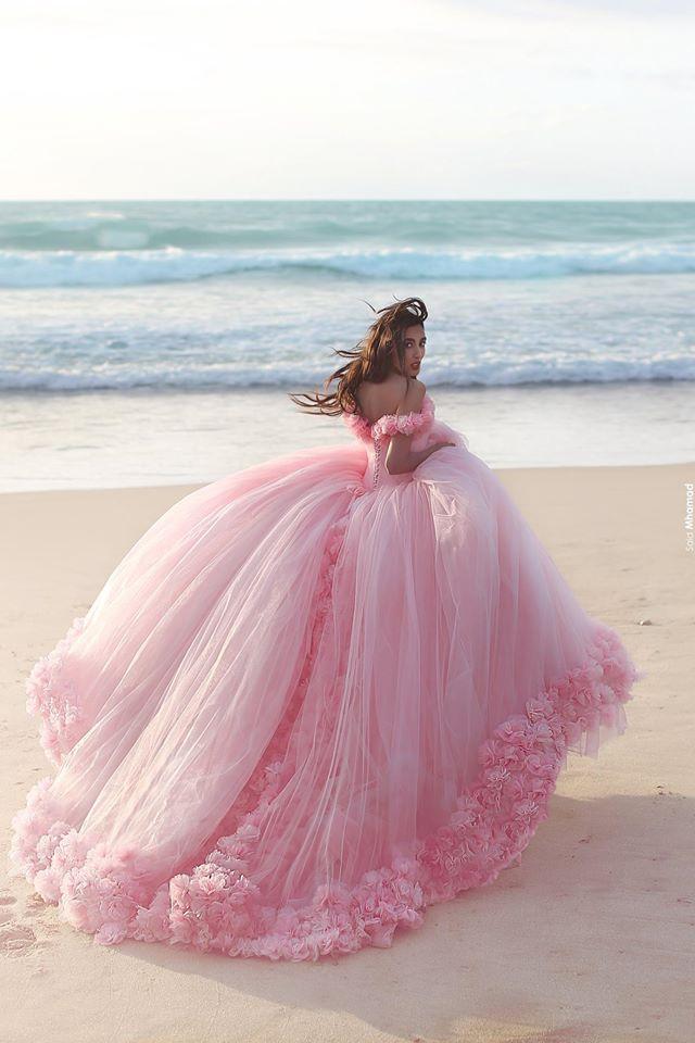 La aduana hace Puffy Off the Evening hombro vestidos Pink Tulle flores de noche