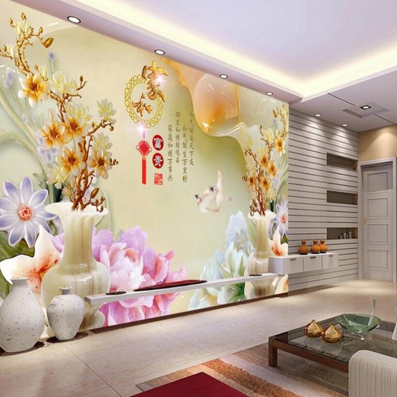 background rich living magnolia vase custom jade tv wallpapers zoom carved beibehang decoration improvement