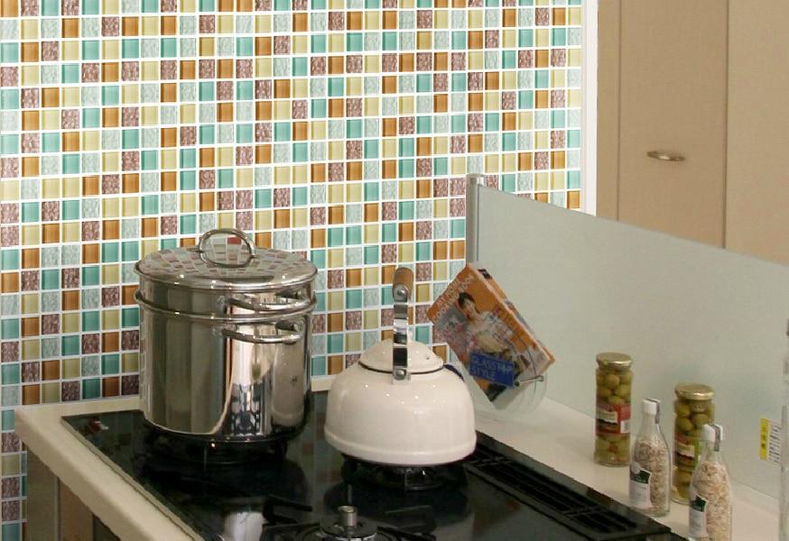 Tstgt arancione disegno delle mattonelle di mosaico per cucina